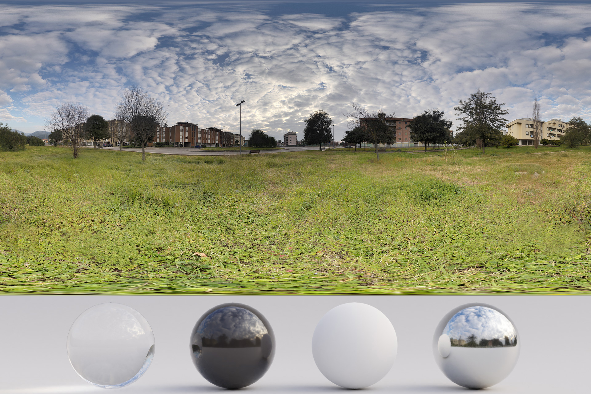 HDRi – Buildings, Grass and Clouds