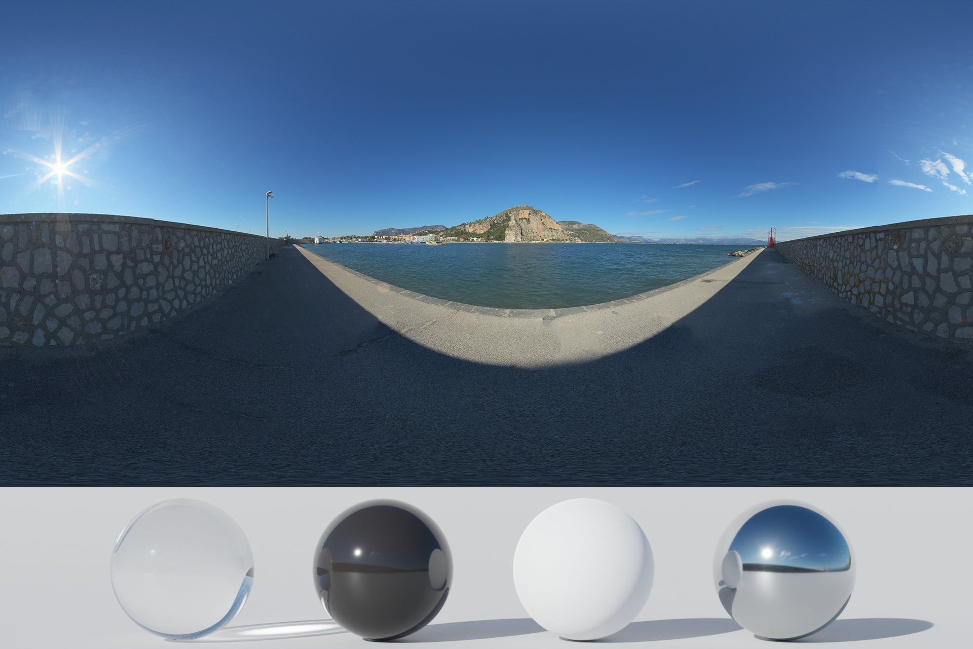 Download Awesome HDRi Port And Mountains